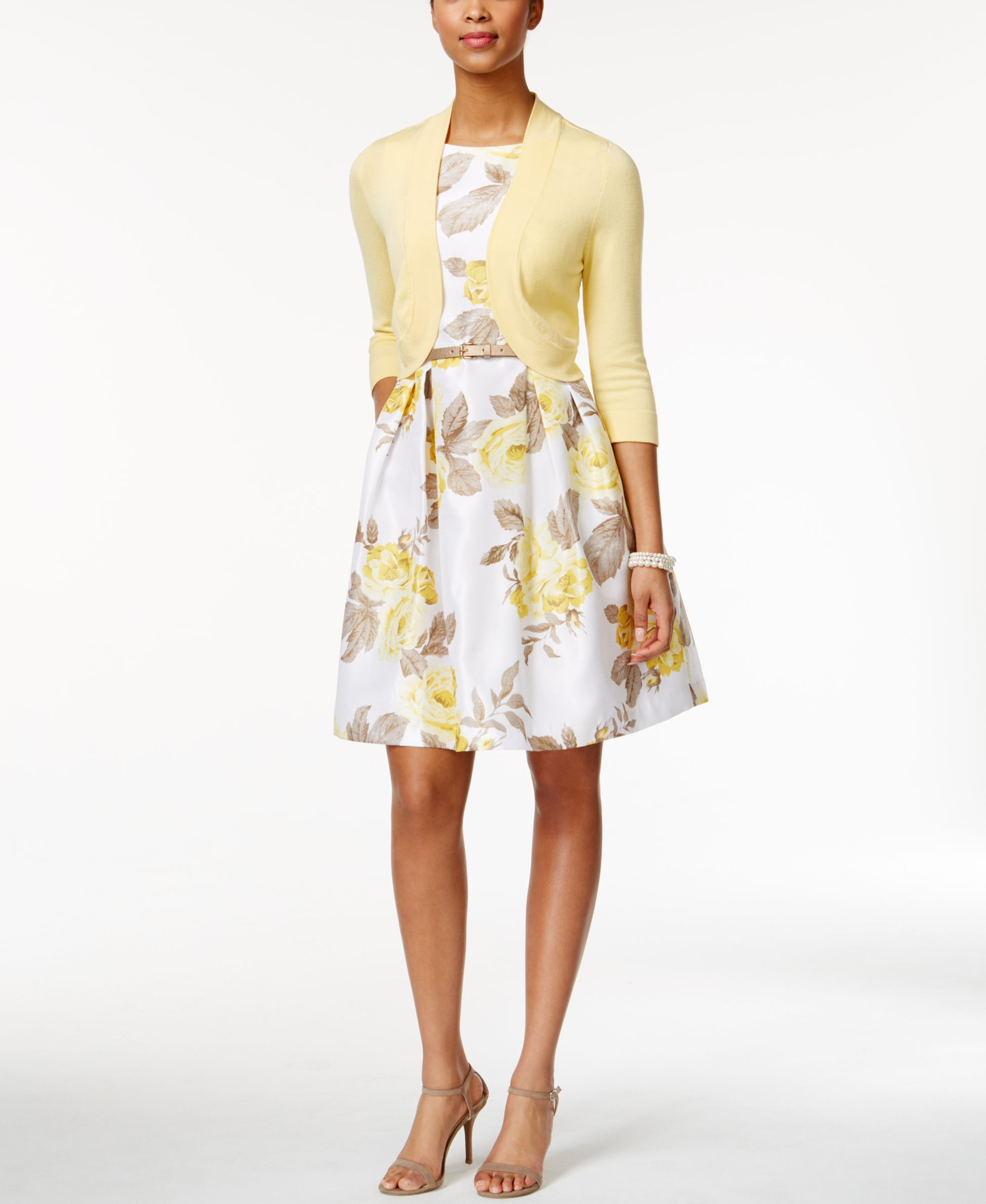 bffb4a15bbc6 Jessica Howard Belted Floral-Print Fit & Flare Dress and Cardigan ...