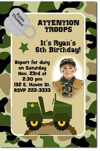 Army Camouflage Camo Birthday Invitations Click For Add L Download