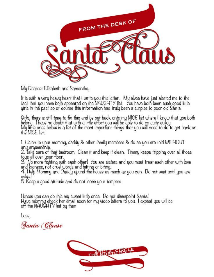 Letter From Santa Template Word Photographer
