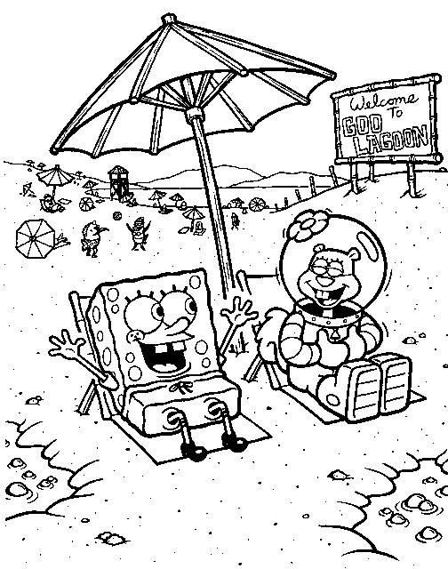 Spongebob Squarepants And Sandy On Beach Coloring Pages | Coloring ...