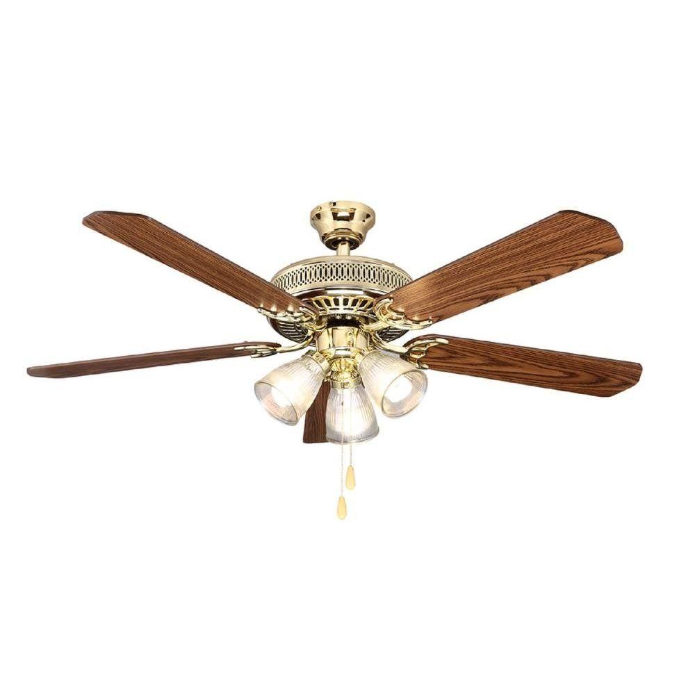 Hampton Bay 525 930 Reversible Brass Ceiling Fan Ceiling Fan Polished Brass