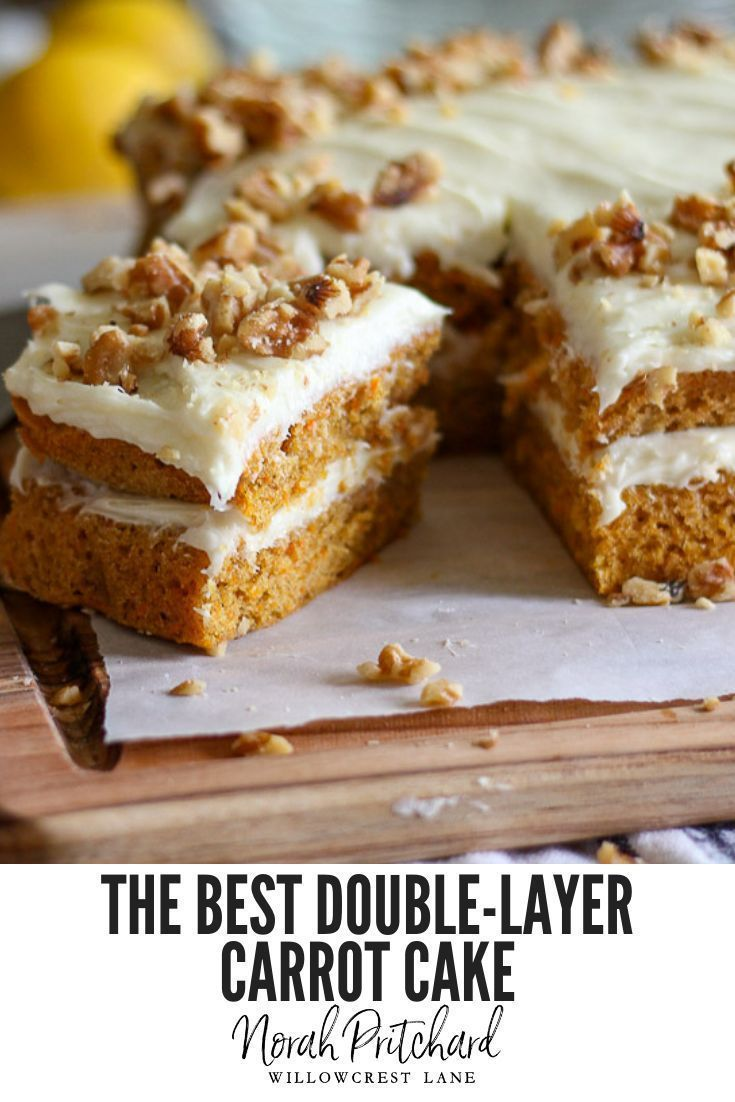 The Best Double-Layer Carrot Cake This truly is the Best Double-Layer Carrot Cake recipe!  It's perfectly moist and delicious, made with plenty of fresh carrots, and topped with the most heavenly lemon cream cheese frosting. You're going to love it!