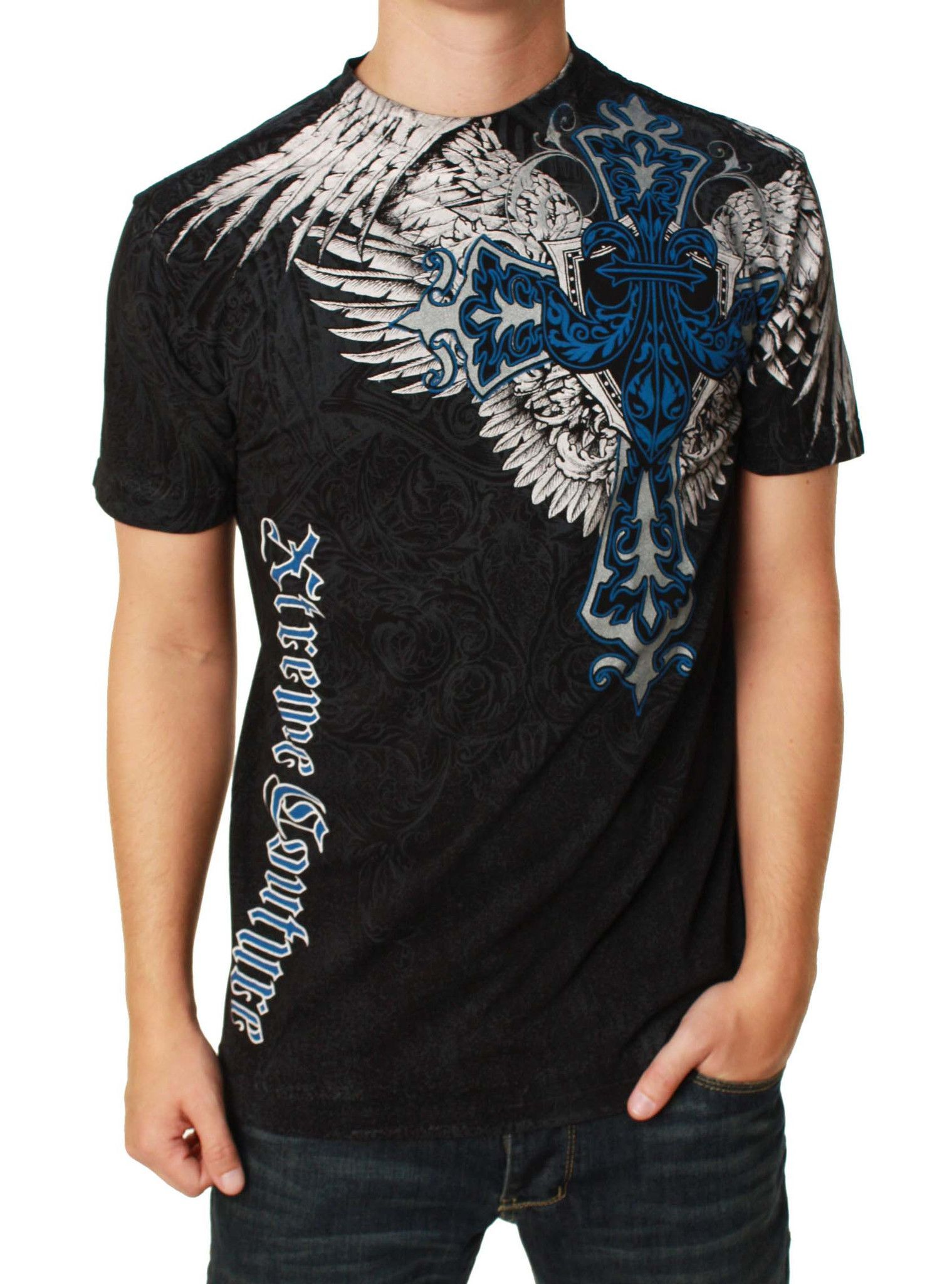 Xtreme Couture Men's Long View Short Sleeve Graphic T-Shirt
