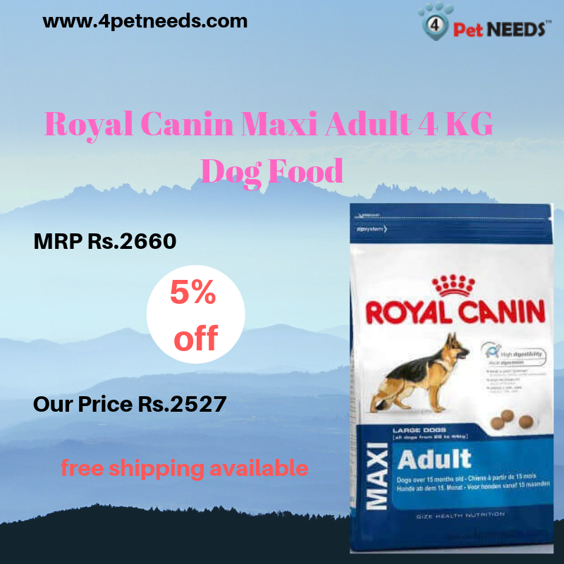 Buy Royal Canin Maxi Adult 4 Kg Dog Food Online At 4petneeds With 5 Off Buy Online Visit Http Bit Ly 2flpifg Dog Food Online Royal Canin Dog Food Recipes