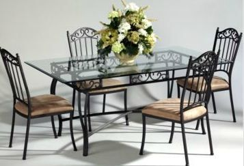 Dining Room Black Rod Iron Accessories For Wrought Iron Dining