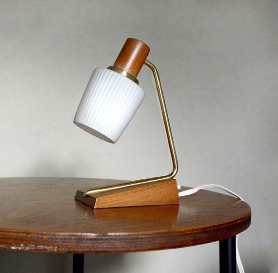 Small 1960s Table Lamp Minimalist Danish Style Wooden Teak Etsy Lamp Table Lamp Glass Lamp Shade