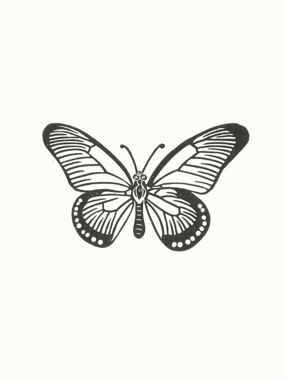 Carte de voeux de linogravure de papillon / / fait par InkshedPress ...