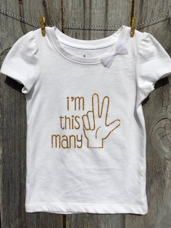 Toddler Girl Third Birthday Shirt In Gold Glitter American Sign Language Finger Formation ASL 3