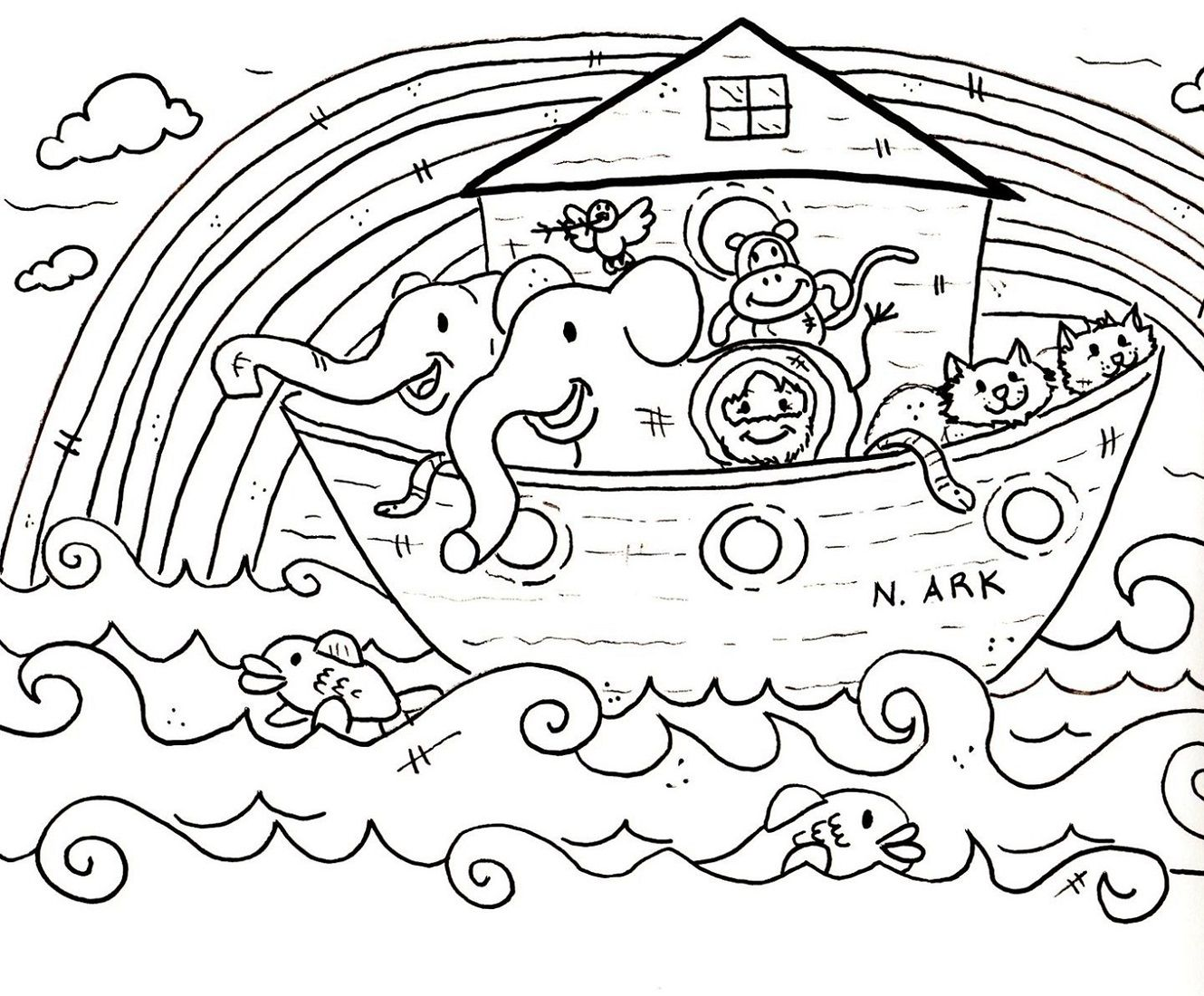 Printable Noah Ark Coloring Pictures For Children Learning Printable Bible Coloring Pages Sunday School Coloring Pages Bible Coloring