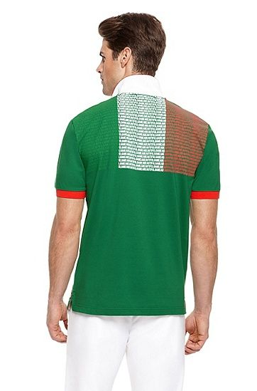aadcb5c0 Hugo Boss 'Paddy Flag' | Modern Fit, Country Cotton Polo Shirt with Flag  Back, MEXICO