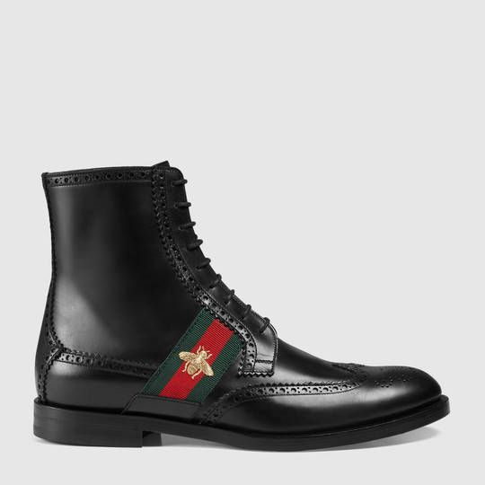 Gucci Leather boot with bee web | Boots