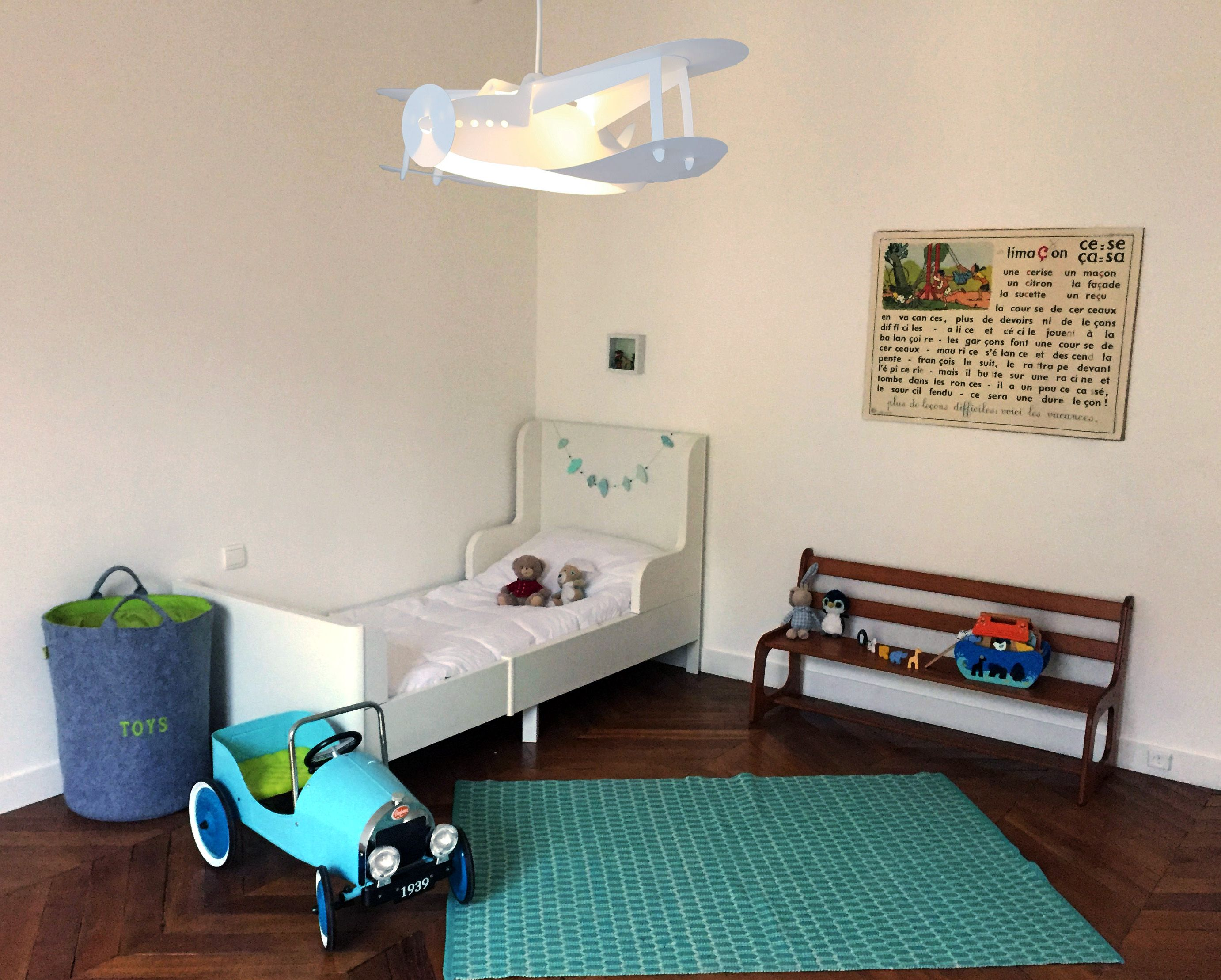 Lampe suspension enfant AVION BLANC  Suspension chambre enfant