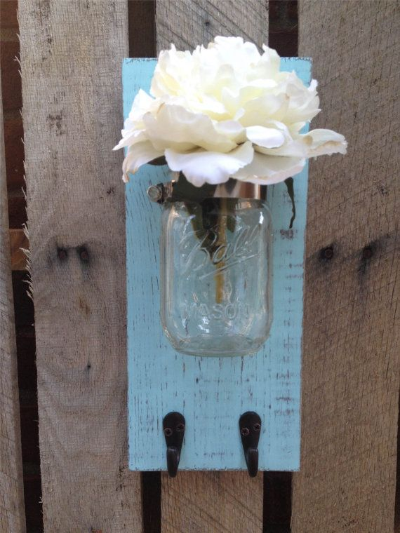 Mason jar wall decor with hookyou pick by lacybellesboutique also rh pinterest