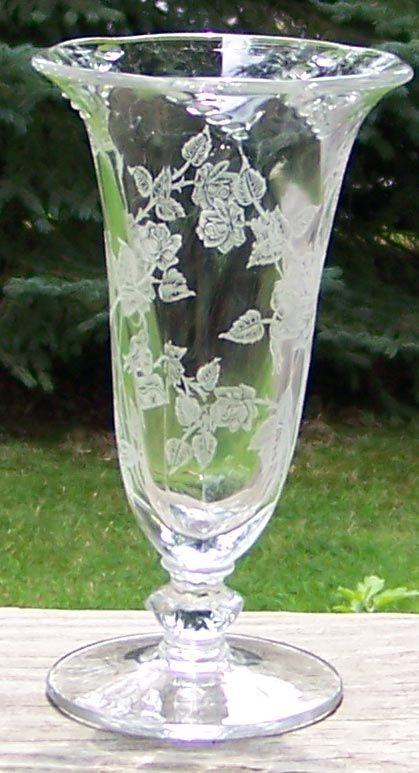 Heisey Rose Etch Flower Vase In Waverly Shape Light Of Glass