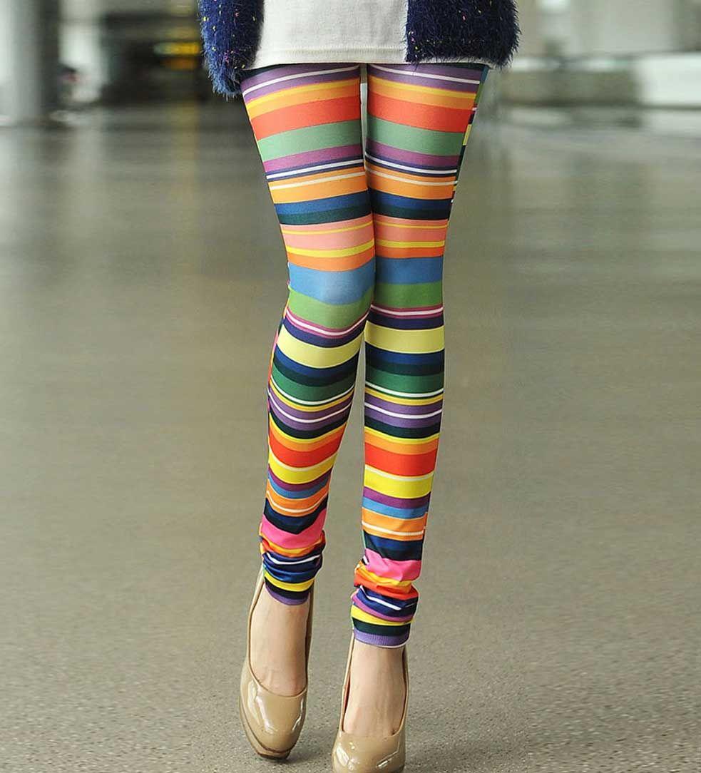 Multi Horizontal Stripe Print Leggings - I like
