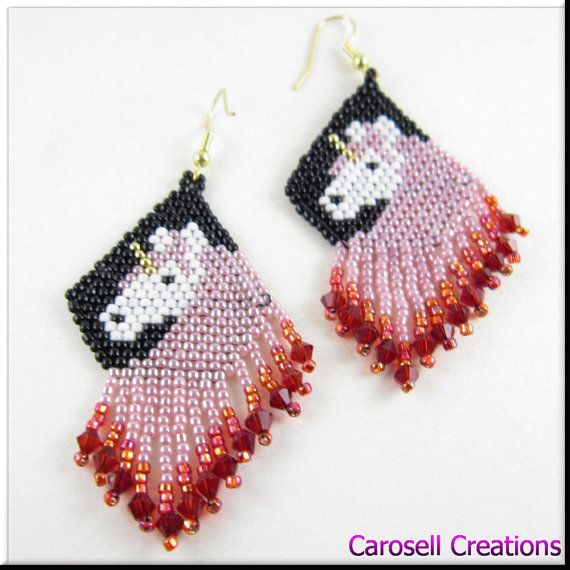 Unicorn Beadwork in Pink and Red Dangle Seed Bead Earrings TAGS - Jewelry, Earrings, Beaded, carosell creations, unicorn, fantasy, beadwork, seed bead earring, earrings, medieval, beaded, seed beaded, mystical, jewelry, horse, pink, red, women, ladies, etsy, handmade, accessories, pierced, mythological