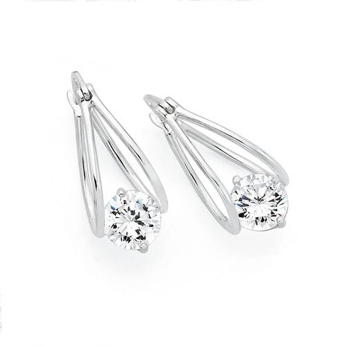 Silver Double Loop Suspended Cubic Zirconia Earrings Goldmark Australia
