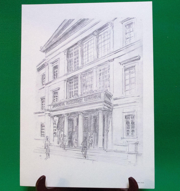 1977 Print Of Pen Sketch By Tübingen Artist Georg Salzmann, Neue Aula - $5.95