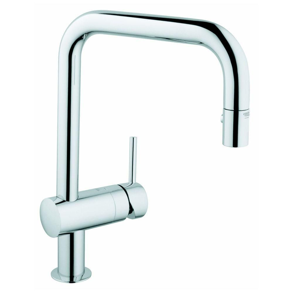 GROHE Minta Single-Handle Pull-Out Sprayer Kitchen Faucet in ...