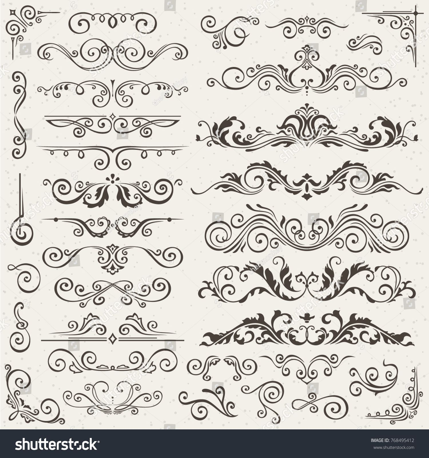 flourish border corner and frame elements collection card