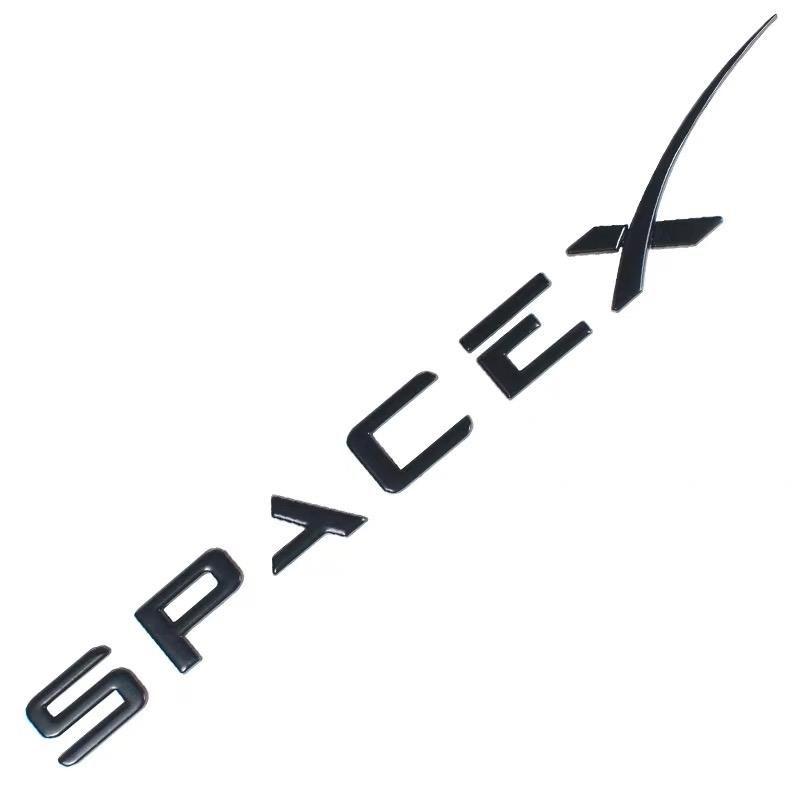 Space X Logo Emblem Badge Sticker Chrome Letters For Tesla Black Tesla Spacex Emblem Logo