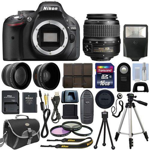 Nikon D5200 Digital Slr Camera Body 3 Lens Kit 18 55mm Vr Lens 16gb Best Value Digital Camera Digital Slr Camera Nikon