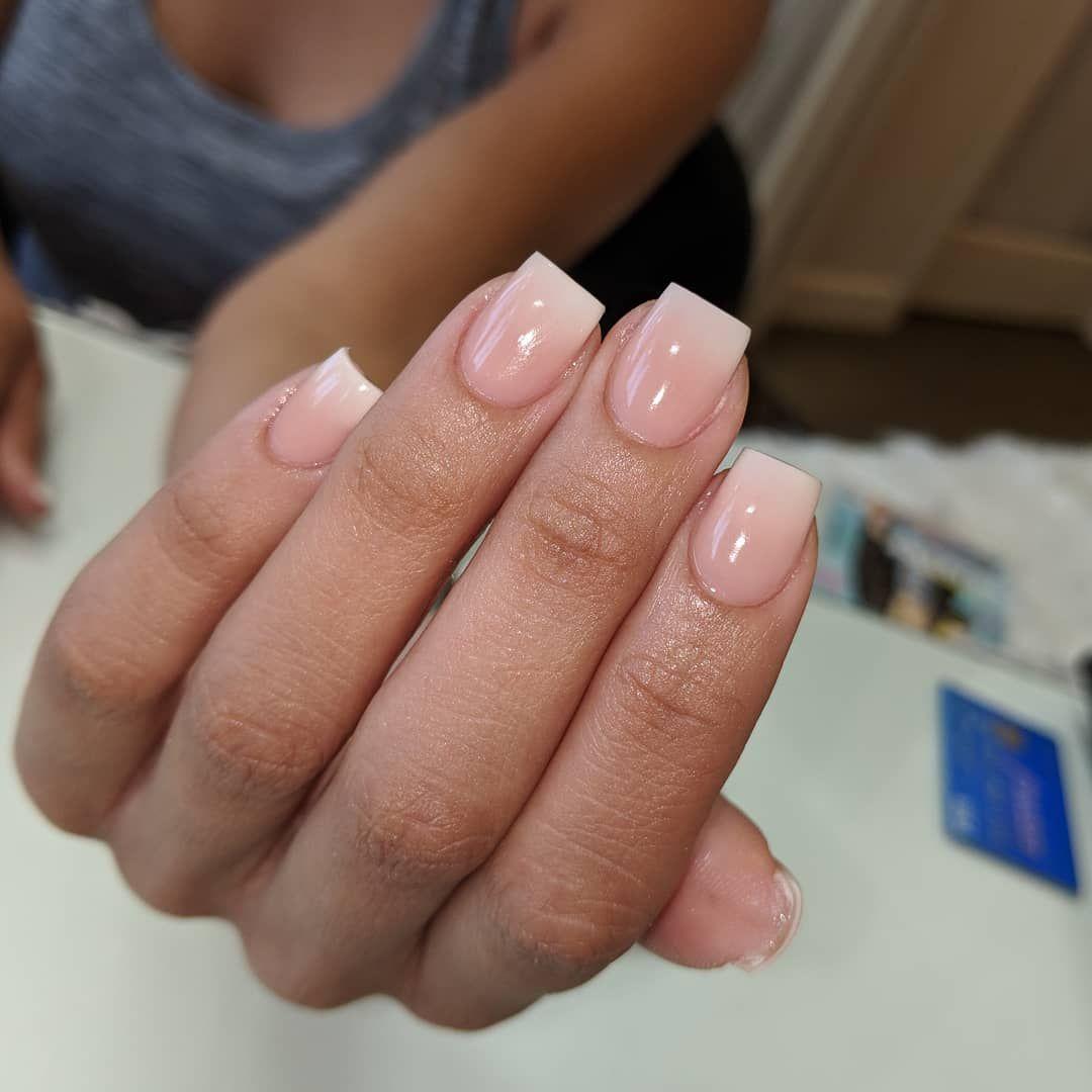 Natural Nail Acrylic Overlay Example Of Pink White Powder Ombre Notd Nailsbydrea Nailsoftheday Na Short Acrylic Nails Gel Overlay Nails Pink Ombre Nails