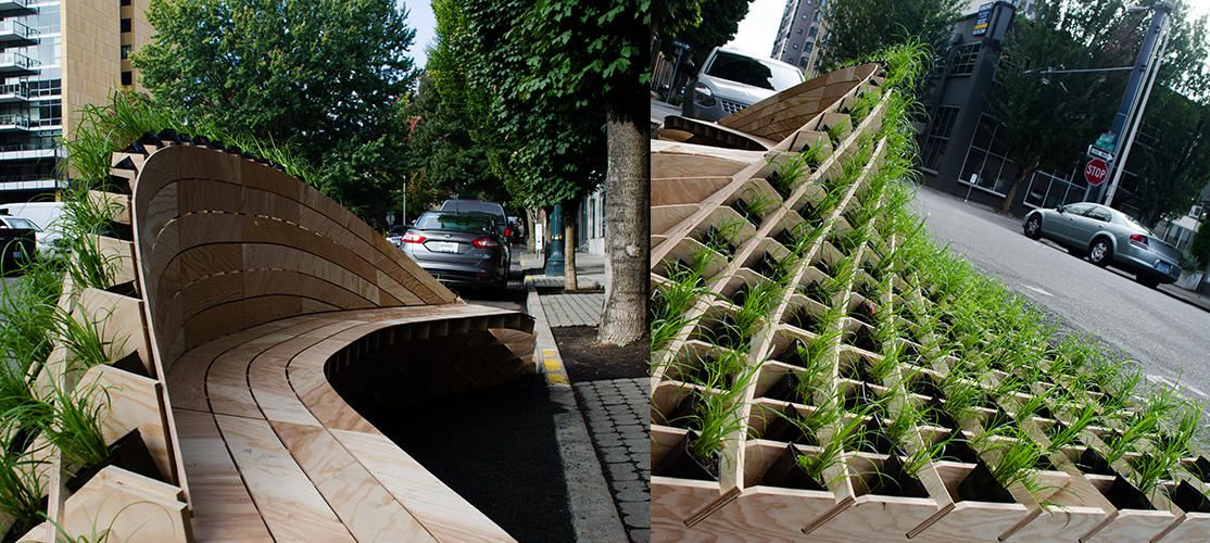 Urban park seating