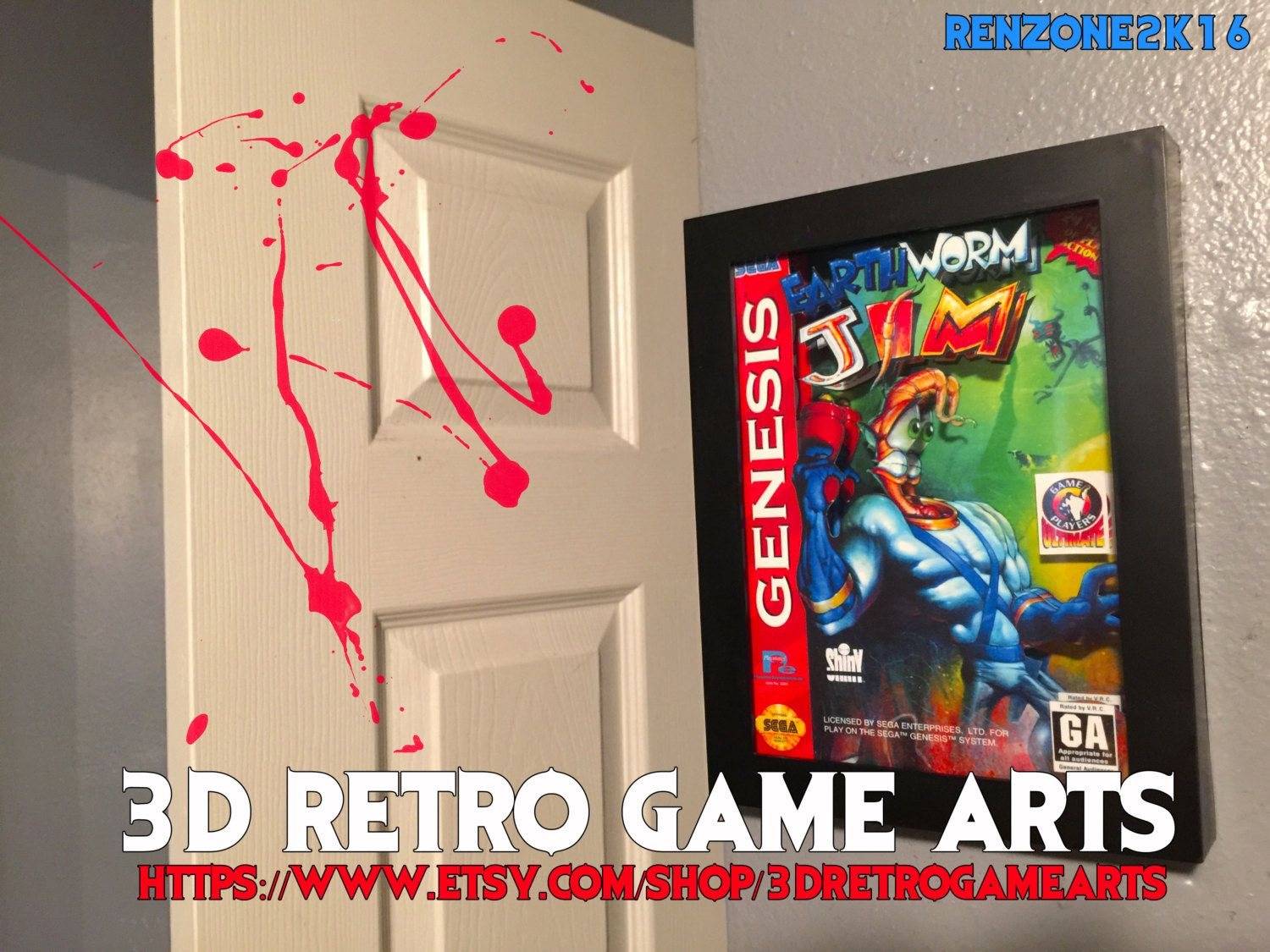Earthworm Jim Sega Genesis Nintendo NES - Retro 3D Game Arts - Series 8 Collection - Retro Art 4 Playstation xbox one ps4 custom