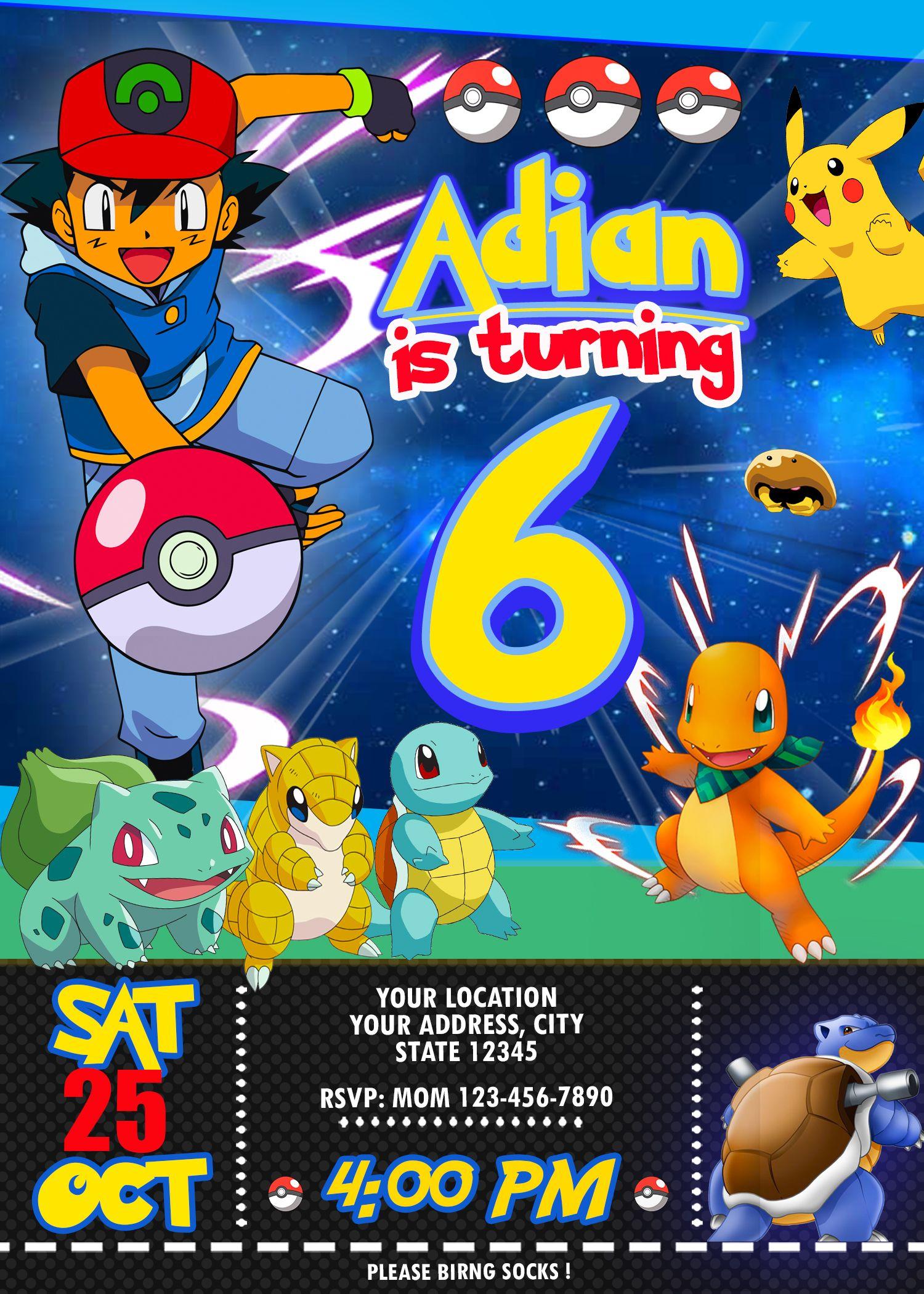Pokemon Birthday Invitation Oscarsitosroom Pokemon Birthday Party Pokemon Birthday Invites Pokemon Themed Party