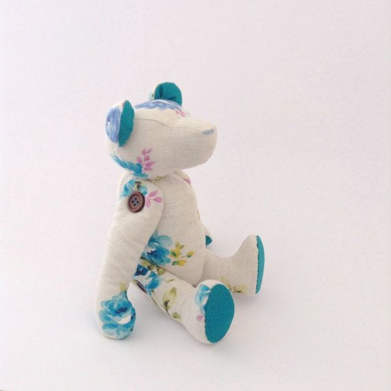 Blue Floral Teddy Bear