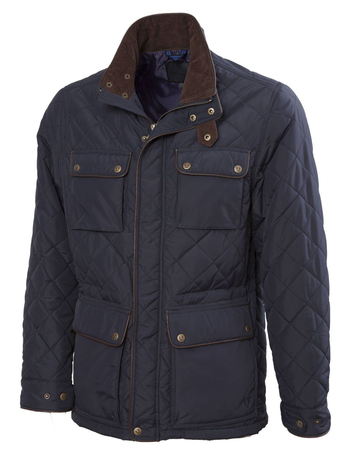 326f47b1bd3 VEDONEIRE Mens Quilted Jacket (3037) NAVY with leather trim at Amazon Men s  Clothing store  Down Alternative Outerwear Coats