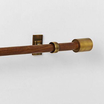 Mid Century Wooden Rod Mid Century Brass Curtain Rods