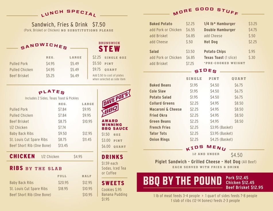 BBQ Menu Example Bbq menu, Starting a food truck, Menu