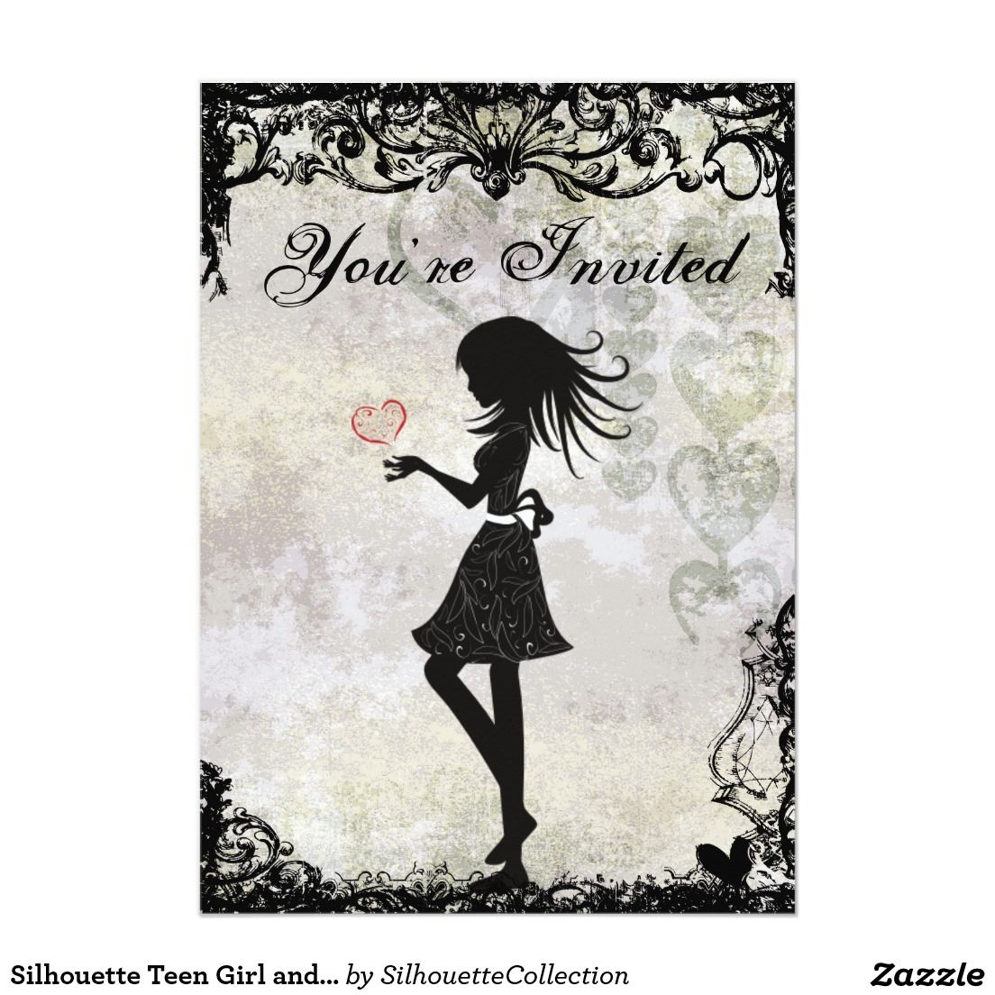 Silhouette teen girl and hearts birthday party 5x7 paper silhouette teen girl and hearts birthday party 5x7 paper invitation card bookmarktalkfo Gallery