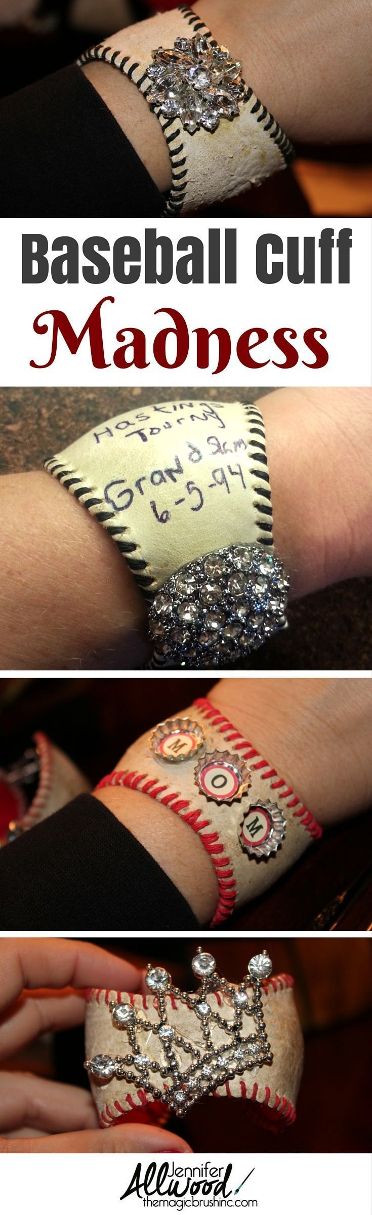 Baseball cuff madness! Add a little bling or turn a momentous game ball into a treasured piece of jewelry!  Great for baseball fans and basemall moms! More DIY projects at theMagicBrushinc.com #baseballmom #crafts #moms #diy