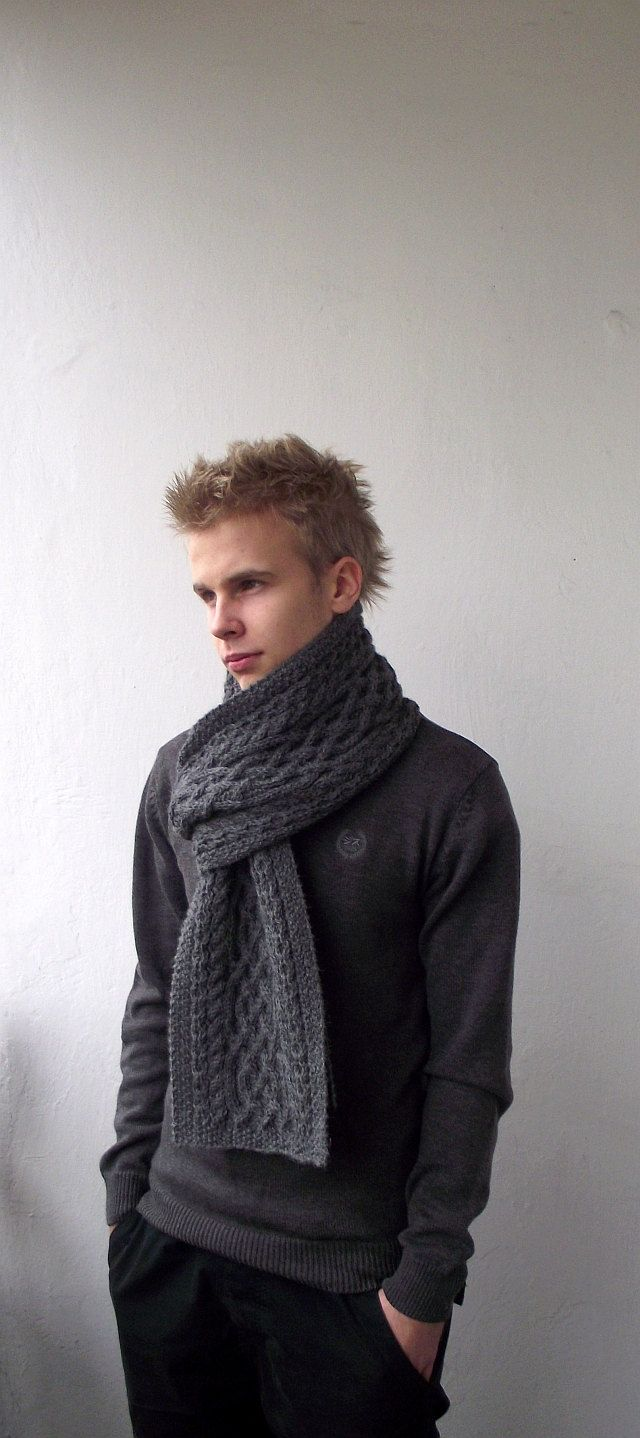Dark grey hand knitted men long scarf with celtic cable pattern dark grey hand knitted men long scarf with celtic cable pattern made to order 10100 bankloansurffo Image collections