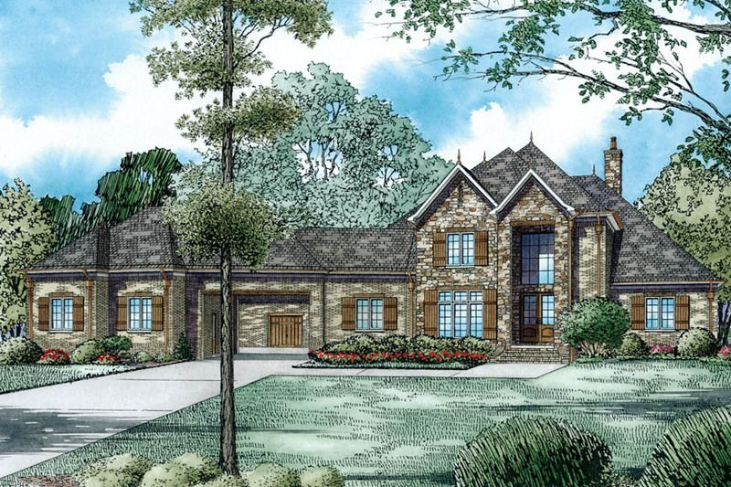 European Style House Plan - 4 Beds 45 Baths 4949 Sq/Ft Plan #17