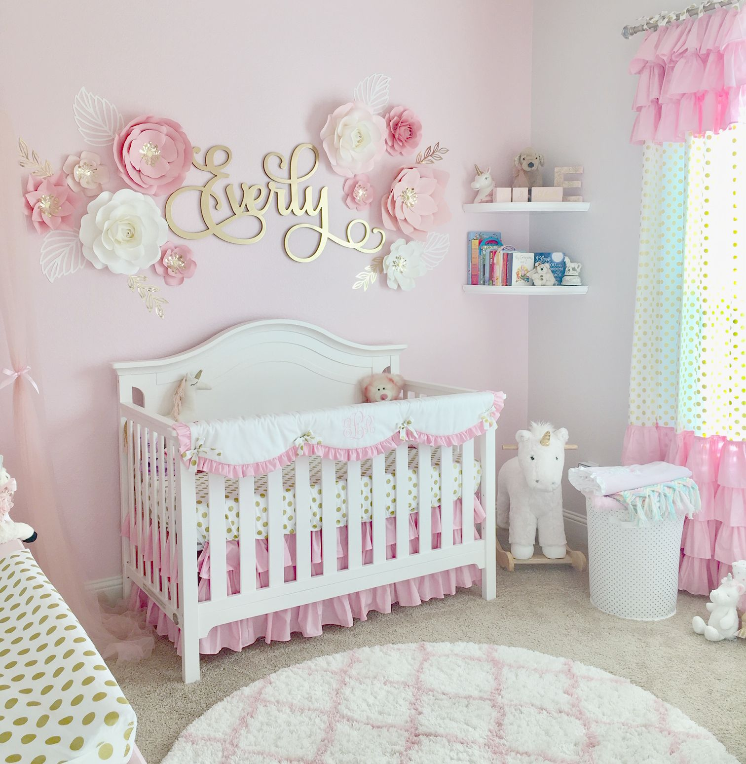 A Pink Gold Nursery For Baby Everly Pink Gold Nursery Pink Baby Room Girl Nursery Room