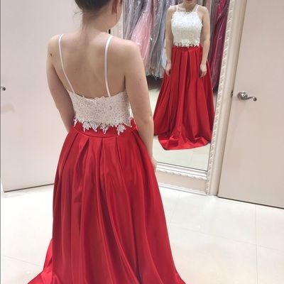 2ab8a291fb6 Two Piece Long Red Royal Blue Black Prom Dress with White Lace Top ...