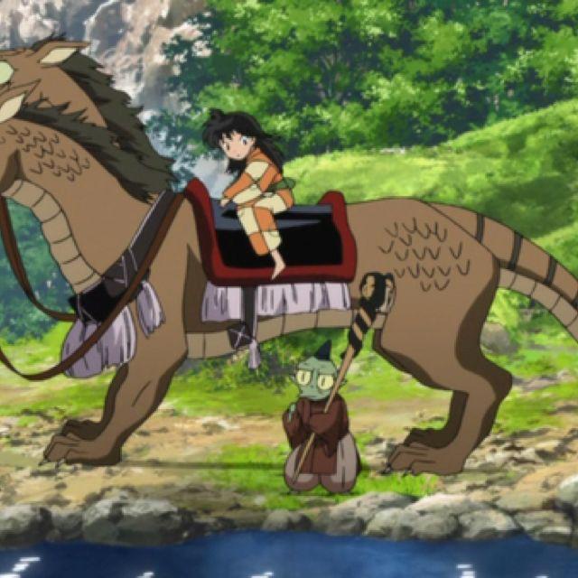 Jaken and Rin riding Ah-Un