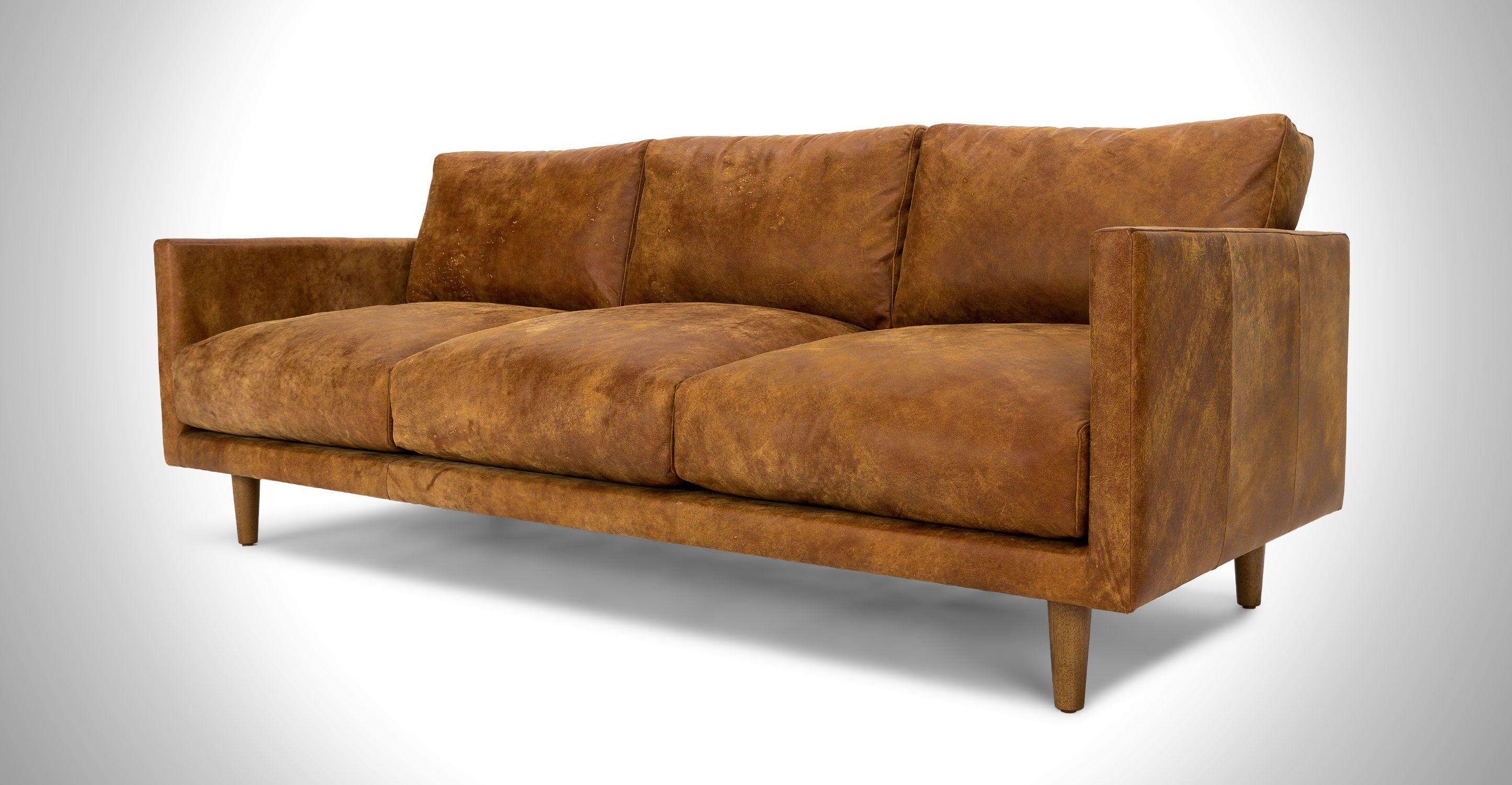Tan Brown Leather Sofa Upholstered