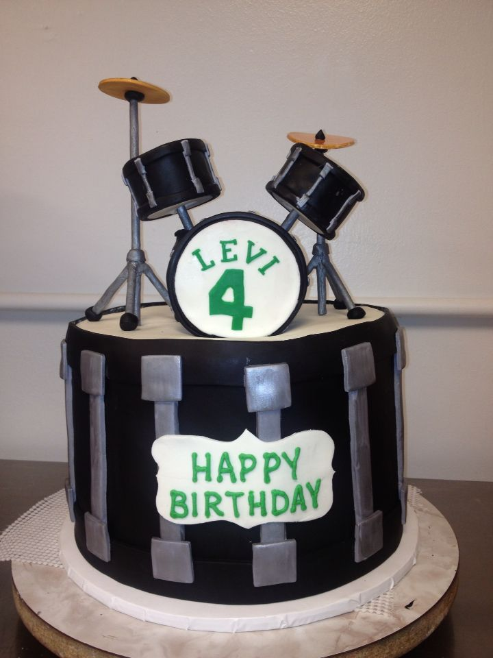 3d Drum Set On Top Of A Cake By TracyCakesAR