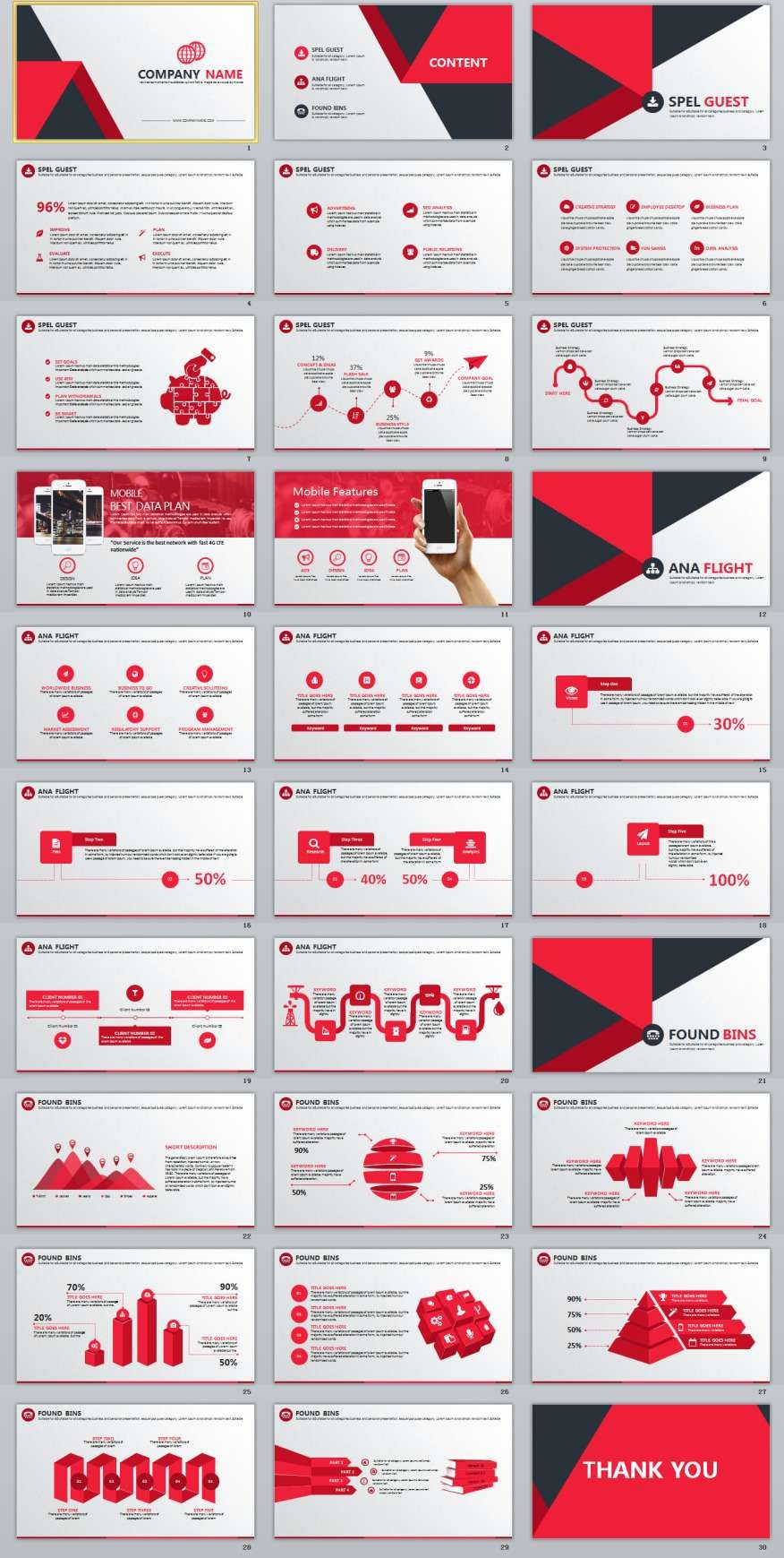 30 Red Infographics Report Powerpoint Template 2018 Business