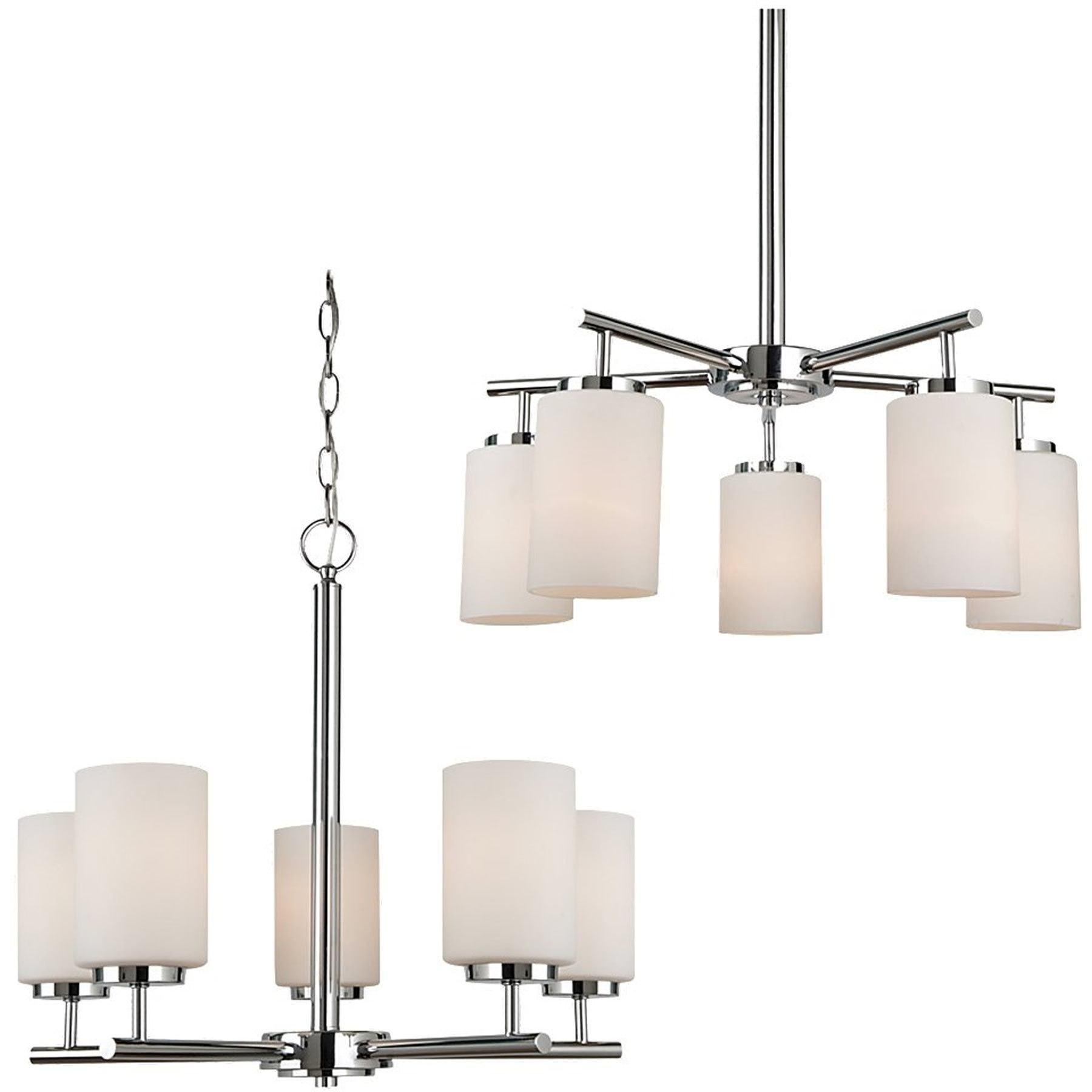 0 017878 Gt Oslo 5 Light Single Tier Chandelier Chrome