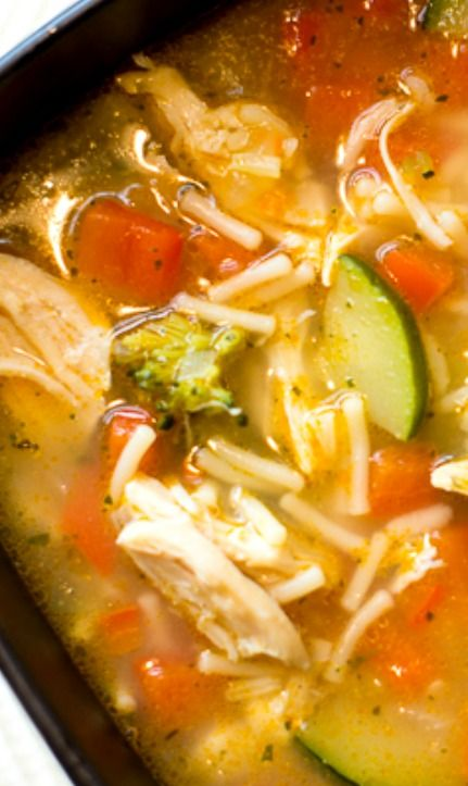 Chicken Rice Vegetable Soup This Soup Is Chock Full Of Delicious Fresh Vegetables Including Red Bell Peppers Zucchini Stuffed Peppers Soup Recipes Recipes