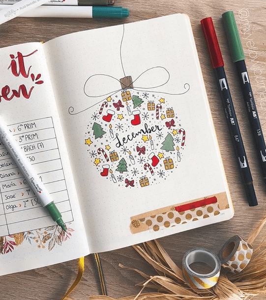 I'm working on my December bullet journal set up right now. Here are some Christmas themed bullet journal ideas I found for inspiration! Will be posting my own December bujo setup soon! Love this adorable December weekly by Kate Hadfield. This December cover page will remind you of