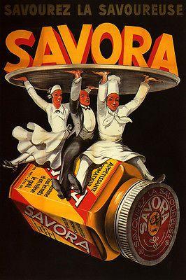 Savora cocinar alimentos condimento camareros restaurante francés Vintage CARTEL REPRODUCCIÓN GRANDE