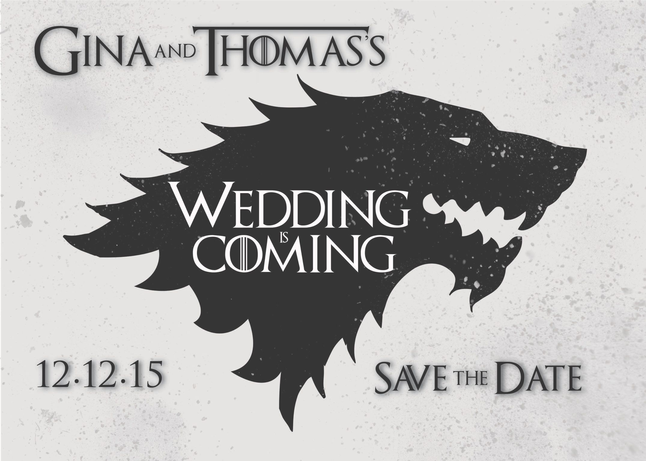 winter is coming game of thrones wedding themed save the date