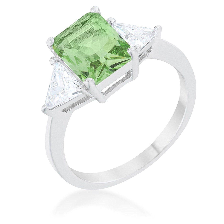 WildKlass Classic Apple Green Rhodium Plated Engagement